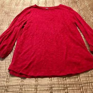 Ruby red cotton top, with tie cuffs, size XL